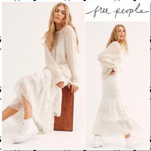 Free People Wilder White Eyelet Midi Skirt NWOT